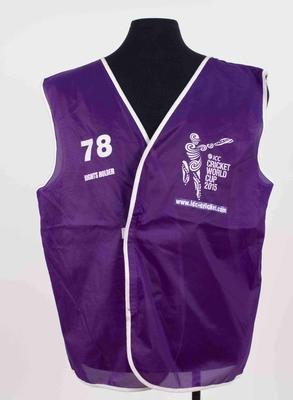 Broadcaster vest, 2015 Cricket World Cup