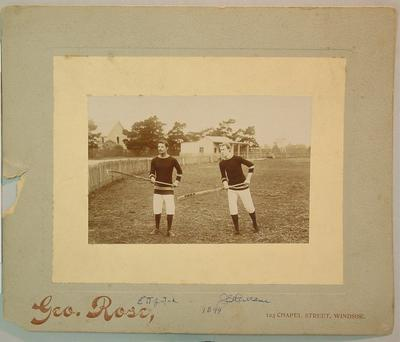 Photograph of two lacrosse players, c1899