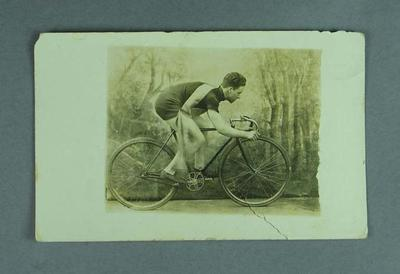 Black and white photograph postcard of Rupert Bates, Professional Cycling Champion, 1924