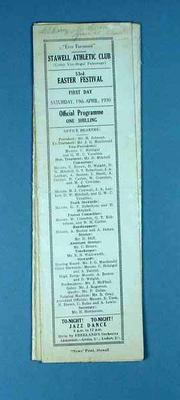 Programme, Stawell Athletic Club Easter Festival 1930