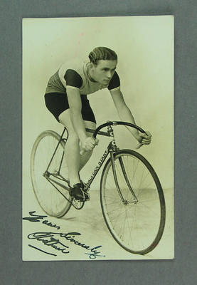 Postcard depicting a cyclist on a Malvern Star bicycle, c1930s