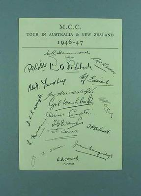 Paper autographed by touring MCC XI, 1946-47