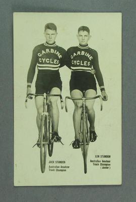 Postcard depicting Jack Standen & Les Standen on bicycles, c1930s