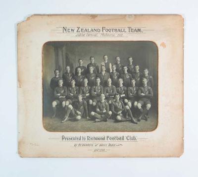 Photograph of New Zealand Football Team, 1908 Jubilee Carnival