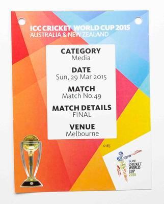 Media pass, 2015 Cricket World Cup final