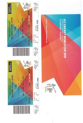 Two tickets for the 2015 Cricket World Cup final