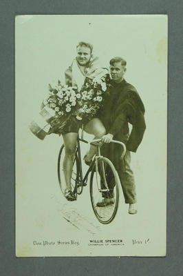 Postcard featuring image of cyclist Willie Spencer, c1923