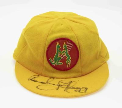 Australian rebel 'Test' cricket cap worn by Rodney Hogg on the 1986-87 tour of South Africa
