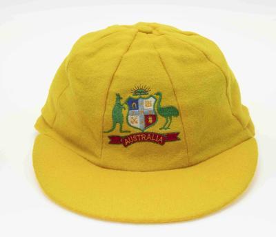 Australian One Day International 'Baggy Gold' cap worn by Craig McDermott, c. 1985-1993