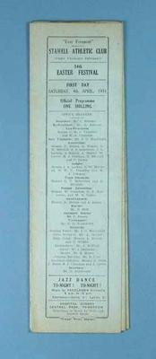 Programme, Stawell Athletic Club Easter Festival 1931