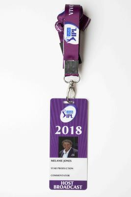 Indian Premier League media pass used by Mel Jones, 2018