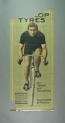 Advertising poster for Dunlop Tyres, featuring Matt Chappell c1908-09