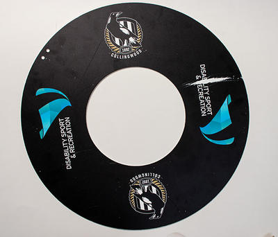 AFL wheelchair wheel guard used by Collingwood FC captain and coach Brendan Stroud, 2018; Sporting equipment; N2019.56.1
