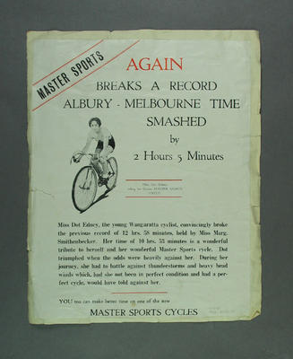 Poster advertising Master Sports cycles, c1937; Documents and books; 1988.2003.20