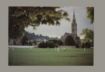 Christmas card featuring image of cricket at Bath