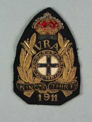 Bullion badge awarded to W Williams, VRA King's Thirty 1911