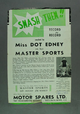 Poster advertising Dot Edney's record breaking on Master Sports cycles, c1937