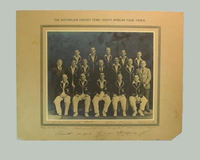 Photograph  - The Australian Cricket Team - South African Tour, 1935-6