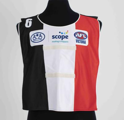 Bib worn in the Scope Australia balloon football tournament; Clothing or accessories; N2019.60.2
