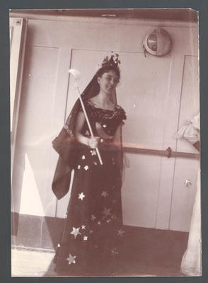 Miss N. Cotter in fancy dress on board 'Ormuz' -  Frank Laver Photograph Album collection