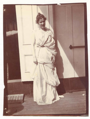 Woman in fancy dress on deck of  'Ormuz' -  Frank Laver Photograph Album collection