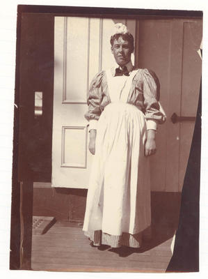 Cricketer in fancy dress on deck of  'Ormuz' -  Frank Laver Photograph Album collection