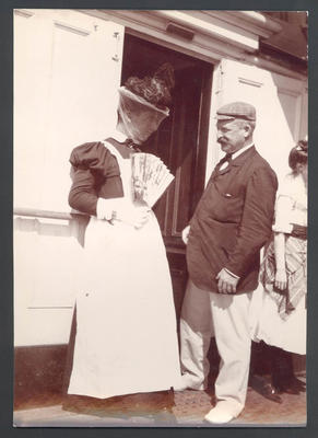 Frank Laver in fancy dress with B.J. Wardill,  on deck of  'Ormuz' -  Frank Laver Photograph Album collection