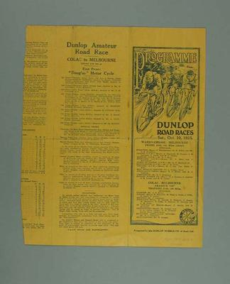 Programme, Dunlop Road Races 1925