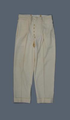 Pair of cricket trousers worn by Clarence Victor Grimmett c. 1920s