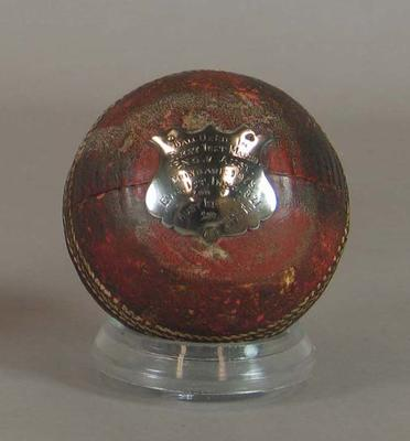 Cricket ball used in First Australia v England Test match in Brisbane, 1928