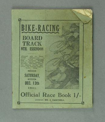 Bike racing programme. Board Track North Essendon 13th December 1941