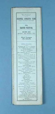 Programme, Stawell Athletic Club Easter Festival 1932