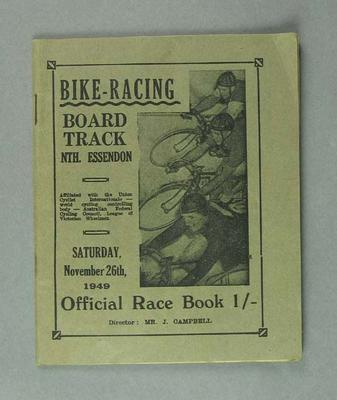 Bike racing programme. Board Track North Essendon 26 November 1949