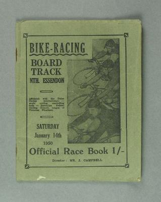 Bike racing programme. Board Track North Essendon 14 January 1950