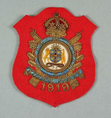 Bullion badge awarded to W Williams, NRA King's Forty 1919