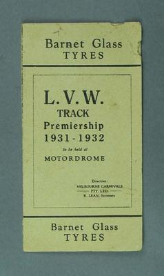 Cycle racing programme. L. V. W. Track Premiership 1931-21, Motordome