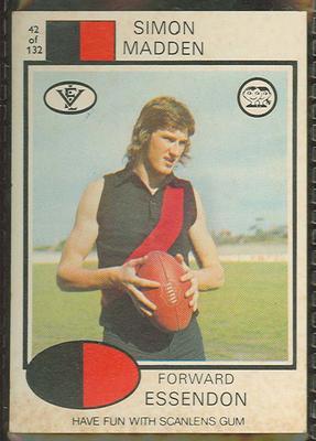 1975 Scanlens VFL Football Simon Madden trade card