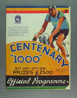 Programme for Centenary 1000, 20-27 October 1934