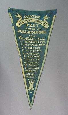 Pennant:  Diamond Jubilee Test Australia v England, 5th Test at MCG 1937