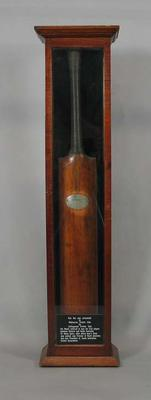 Bat in presentation case - presented by Sir Henry Ayers to M. Murphy November 1874