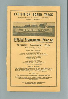 Programme, Exhibition Board Track 28 November 1936