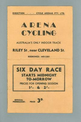 Programme, Arena Cycling 28 Dec 1940