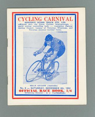 Programme, Cycling Carnival 4 Dec 1954