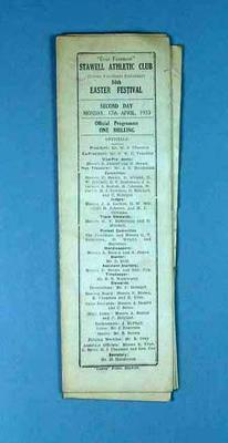 Programme, Stawell Athletic Club Easter Festival 1933