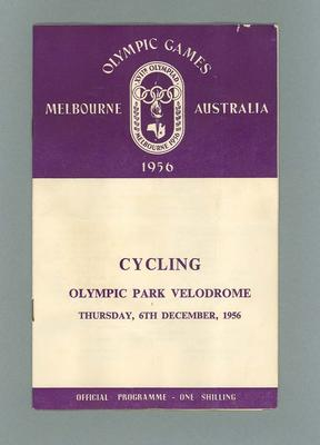 Programme, 1956 Olympic Games cycling events 6 Dec 1956