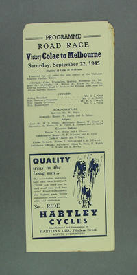 Programme - Bicycle Road Race, Victory Colac-Melbourne 22 September 1945; Documents and books; 1993.2852.2