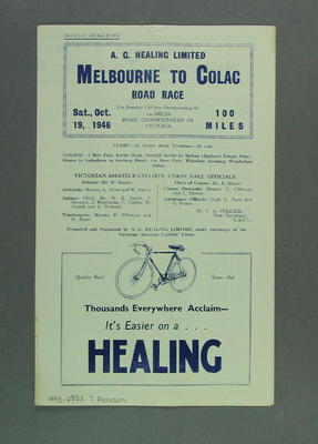 Programme, Bicycle Road Race - Melbourne-Colac  19 October 1946; Documents and books; 1993.2852.7