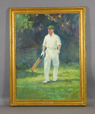 "Portrait:   ""Sir Donald Bradman"" - artist Leslie A. Wilcox R.I.; Artwork; Framed; M6569"