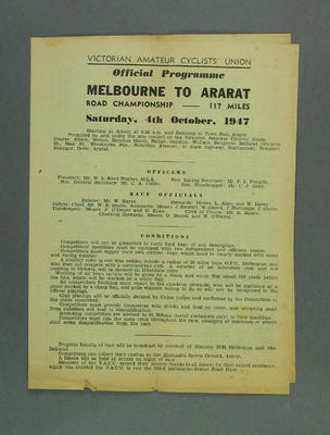 Programme, Bicycle Road Race, Melbourne-Ararat Road Championship 4 October 1947; Documents and books; 1993.2852.8
