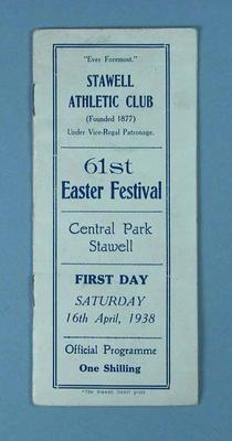 Programme, Stawell Athletic Club Easter Festival 1938
